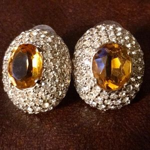 Vintage 80s Panetta Amber Rhinestone Earrings